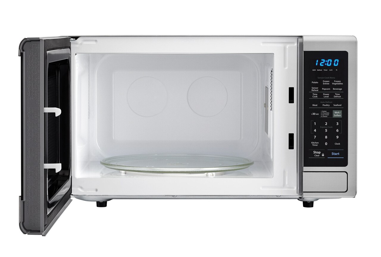 2.2 cu. ft. Stainless Steel Countertop Microwave (SMC2242DS) – front view with door open