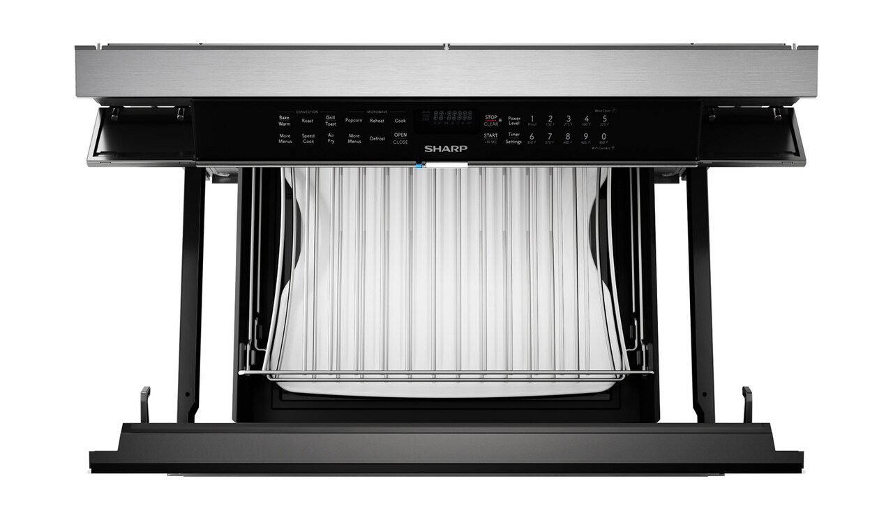 """24"""" Built-In Smart Convection Microwave Drawer Oven (SMD2499FS) - overhead view with open drawer"""