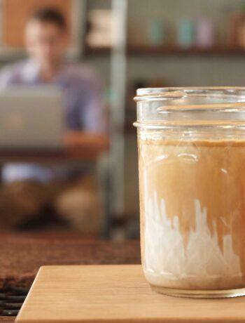 mason jar with milkshake