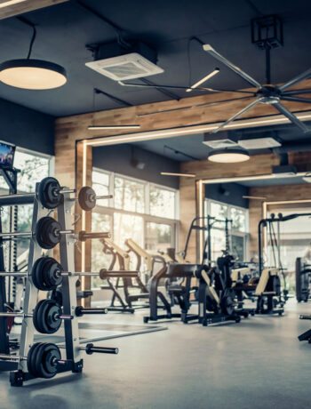 gym with weight racks