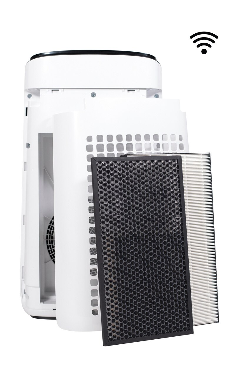 Sharp IoT Plasmacluster® Ion True HEPA Large Room Air Purifier (FXJ80UW) – back view with open filter