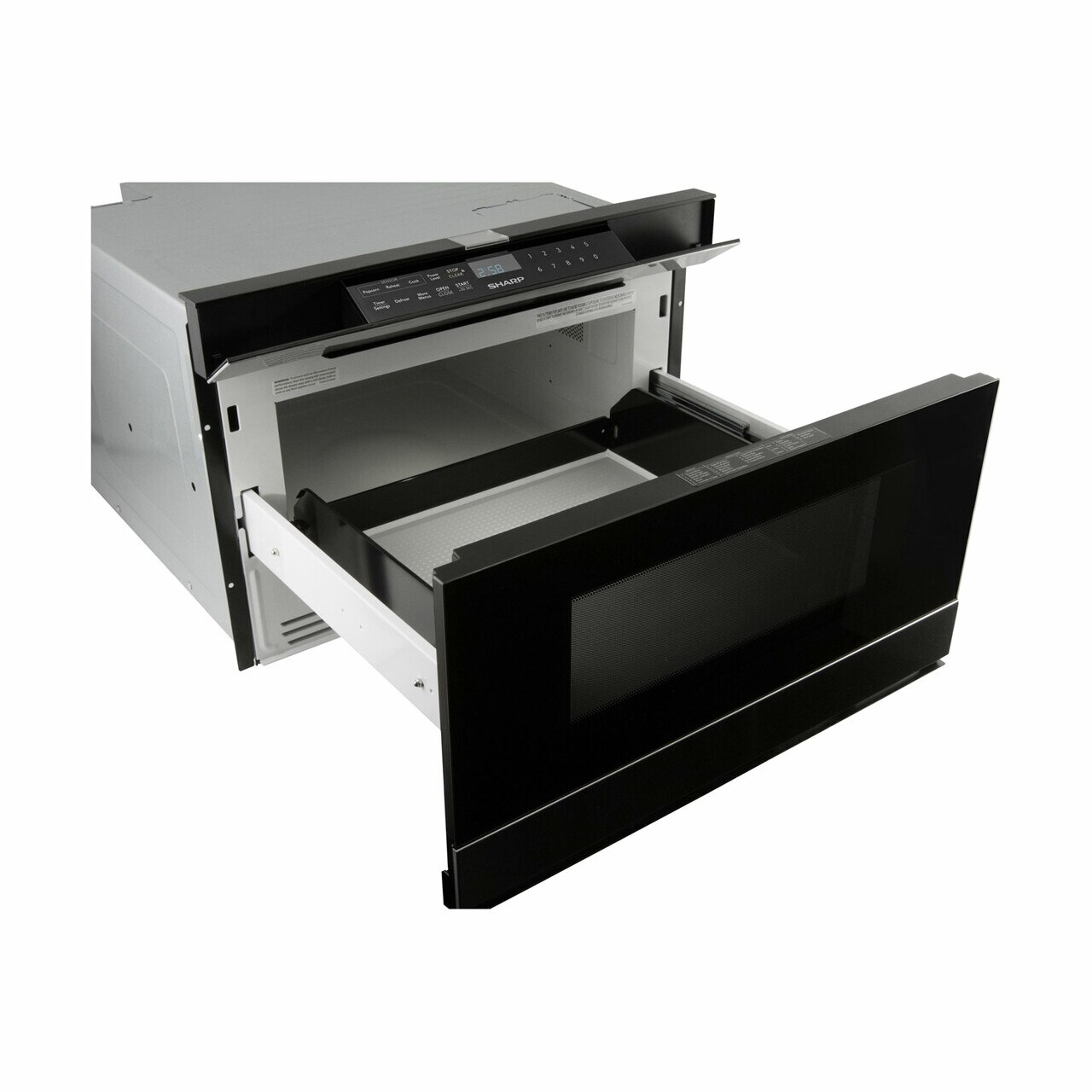 Sharp Easy Wave Open Microwave Drawer (SMD2480CS) – left angle view with drawer open