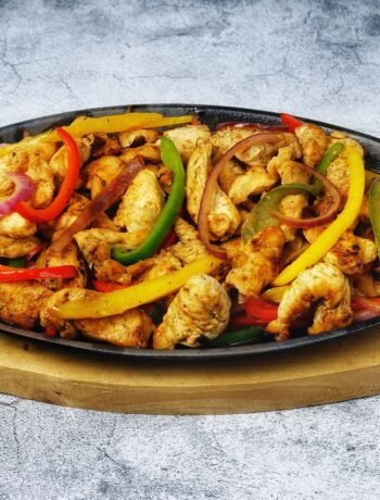 skillet with a chicken fajita