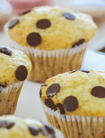 Muffins with chocolate chips next to one another.