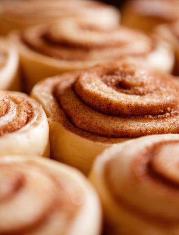 Cinnamon rolls spread out.