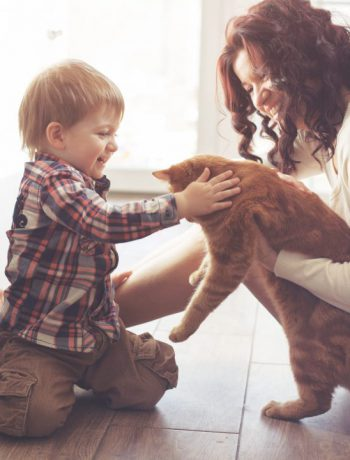 Mother and son on a kitchen floor petting a cat.