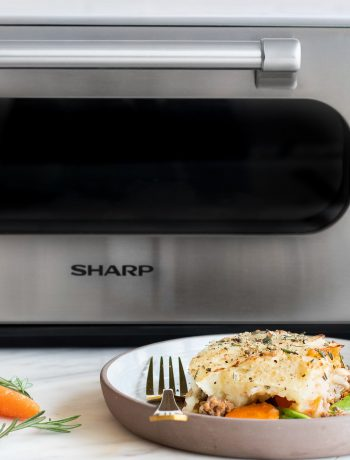Shepards pie next to a Sharp Supersteam Countertop Oven.