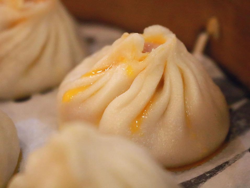 Steam oven dumplings on a tray.