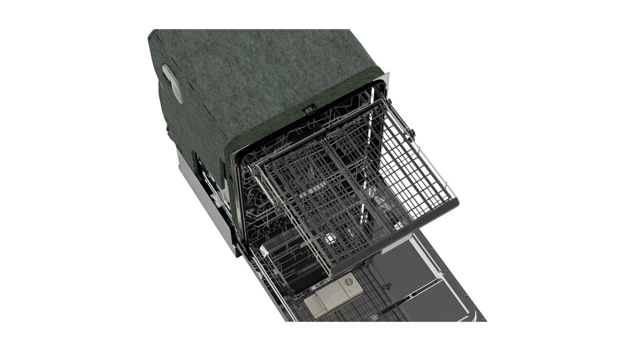 "Sharp 24"" Slide-In Stainless Steel Dishwasher (SDW6757ES) – overhead view with door open"