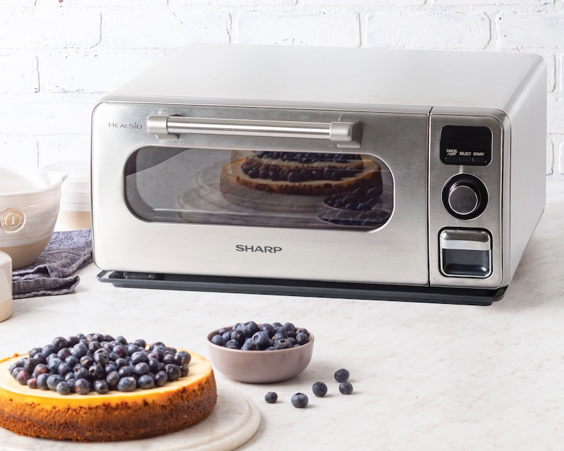 Cheesecake in front of Sharp Superheated Steam Countertop Oven