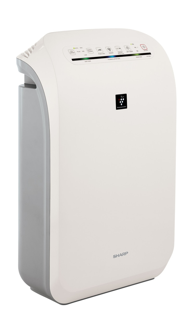 Sharp HEPA Air Purifier with Plasmacluster® Ion Technology for Medium Rooms (FPF60UW) – right angle view