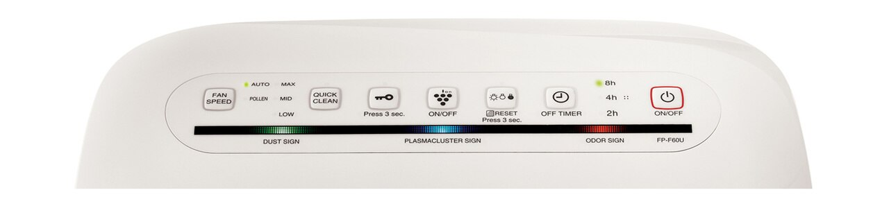 Sharp HEPA Air Purifier with Plasmacluster® Ion Technology for Medium Rooms (FPF60UW) – control panel
