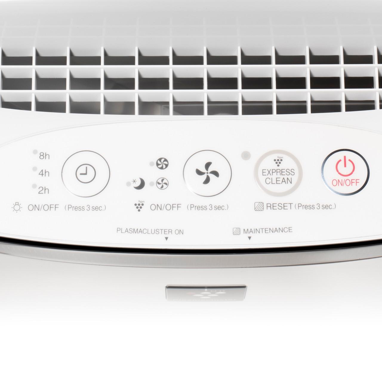 Sharp True HEPA Air Purifier for Medium-Sized Rooms (FPK50UW) – control panel top view