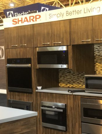 Sharp display booth at a trade show.