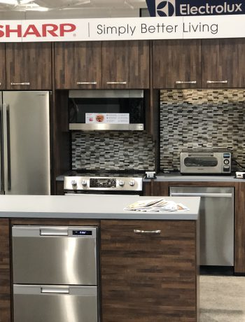Sharp appliances in a showcase setting.