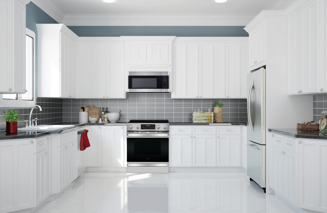 White kitchen design with grey backsplash.