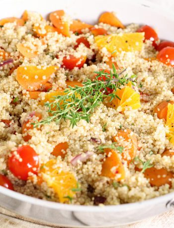 Meatless Quinoa in a pan on a hot plate.