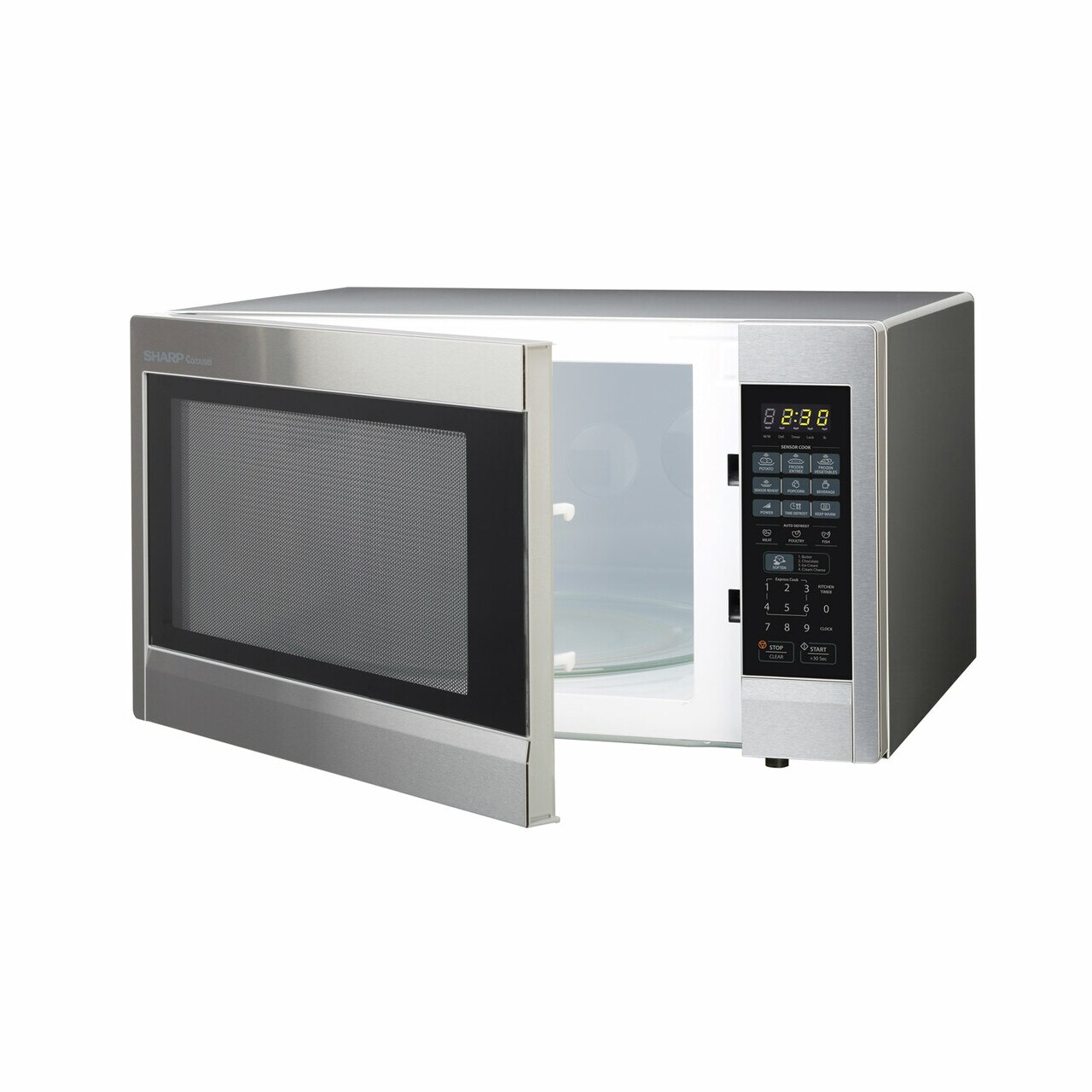 2.2 cu. ft. Stainless Steel Countertop Microwave (R651ZS) – left angle view with door open