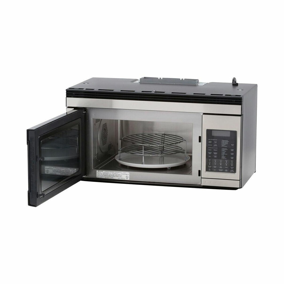 1.1 cu. ft. 850W Sharp Stainless Steel Over-the-Range Convection Microwave (R1874TY) – left angle view with door open