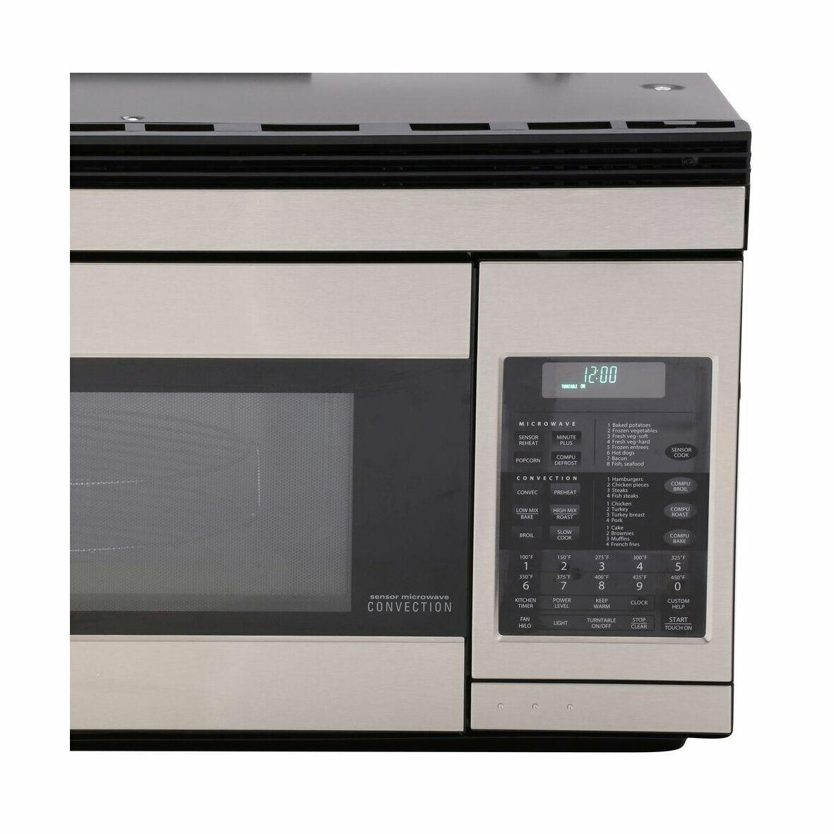 1.1 cu. ft. 850W Sharp Stainless Steel Over-the-Range Convection Microwave (R1874TY) – control panel