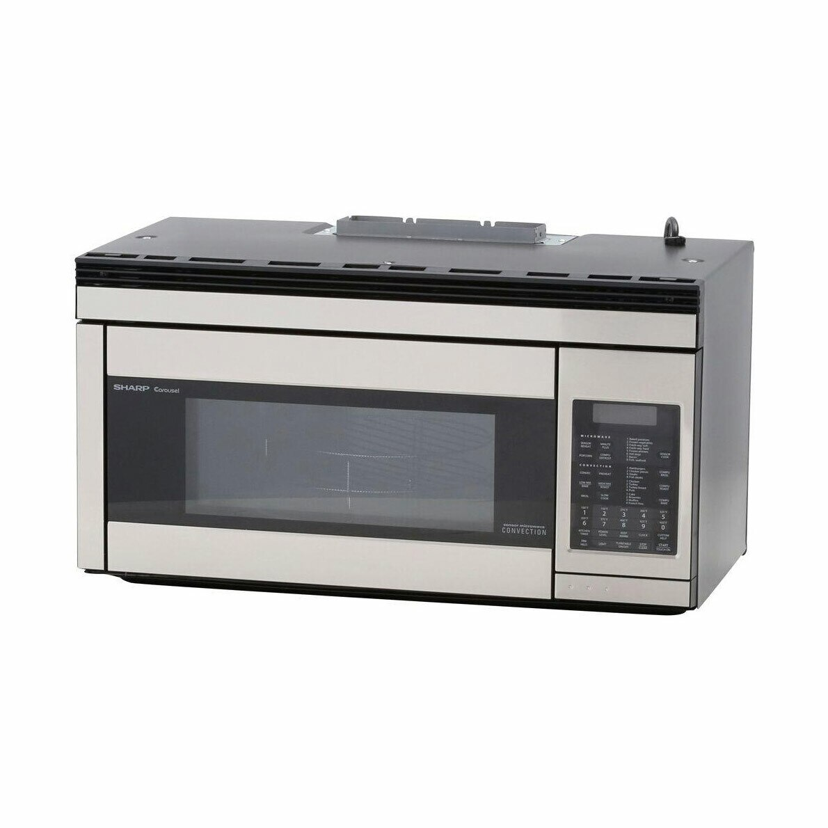 1.1 cu. ft. 850W Sharp Stainless Steel Over-the-Range Convection Microwave (R1874TY) – left angle view