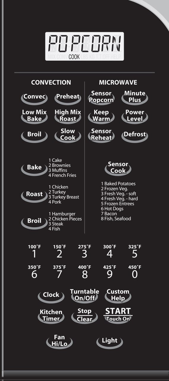 1.1 cu. ft. Sharp Stainless Steel Over-the-Range Convection Microwave (R1881LSY) – control panel