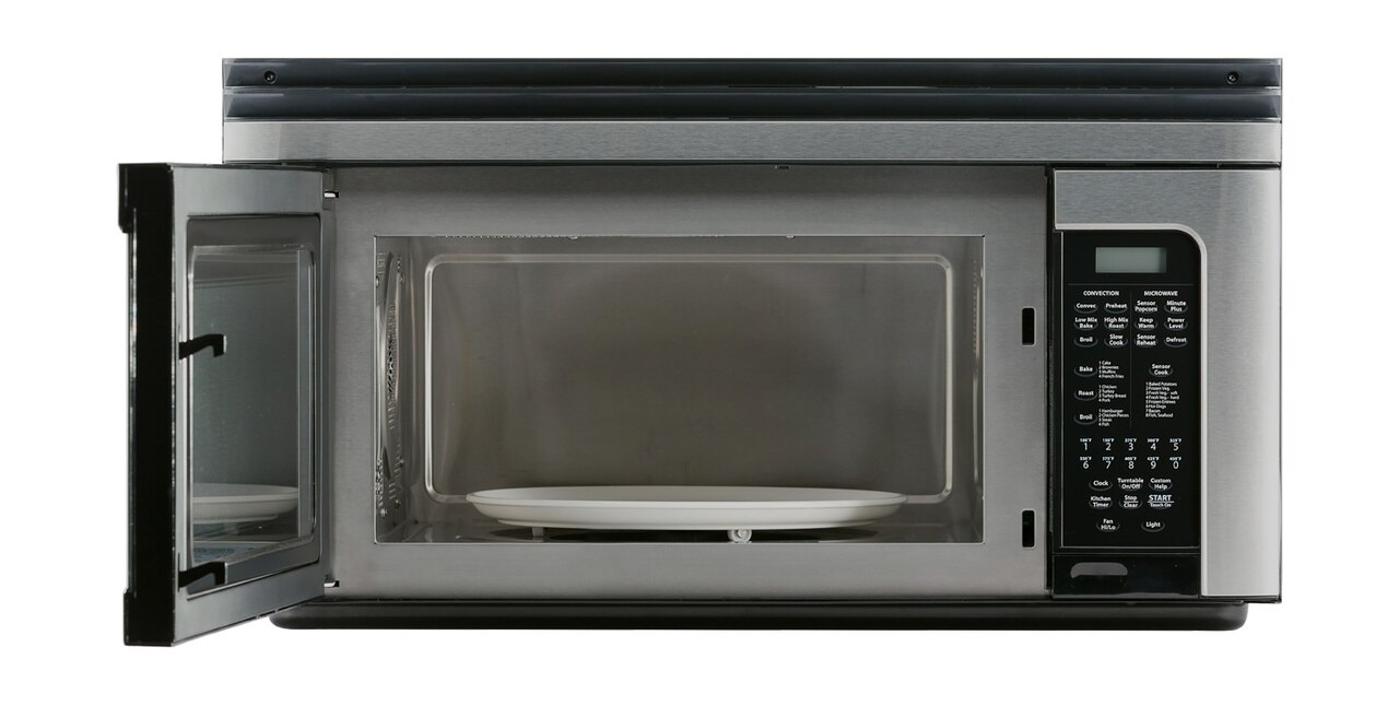 1.1 cu. ft. Sharp Stainless Steel Over-the-Range Convection Microwave (R1881LSY) – front view with door open