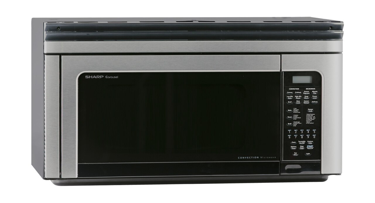 1.1 cu. ft. Sharp Stainless Steel Over-the-Range Convection Microwave (R1881LSY) – right angle view