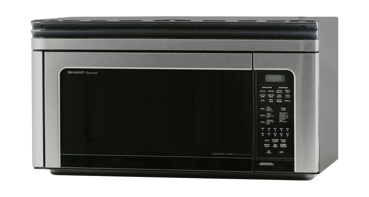 1.1 cu. ft. Sharp Stainless Steel Over-the-Range Convection Microwave (R1881LSY) – left angle view