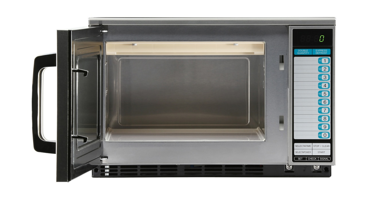 Sharp R22GTF Heavy-Duty Commercial Microwave Oven with 1200 Watts – front view with door open