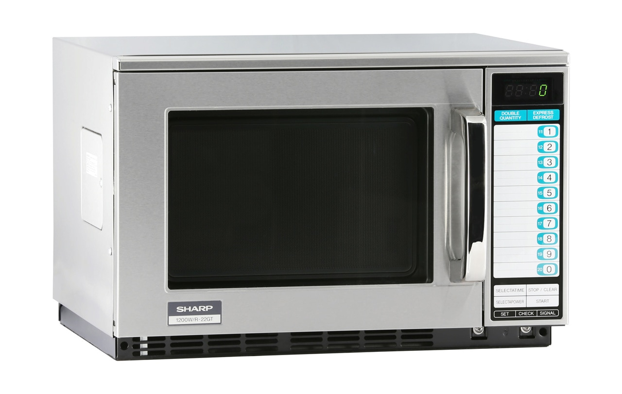 Sharp R22GTF Heavy-Duty Commercial Microwave Oven with 1200 Watts - right angle view