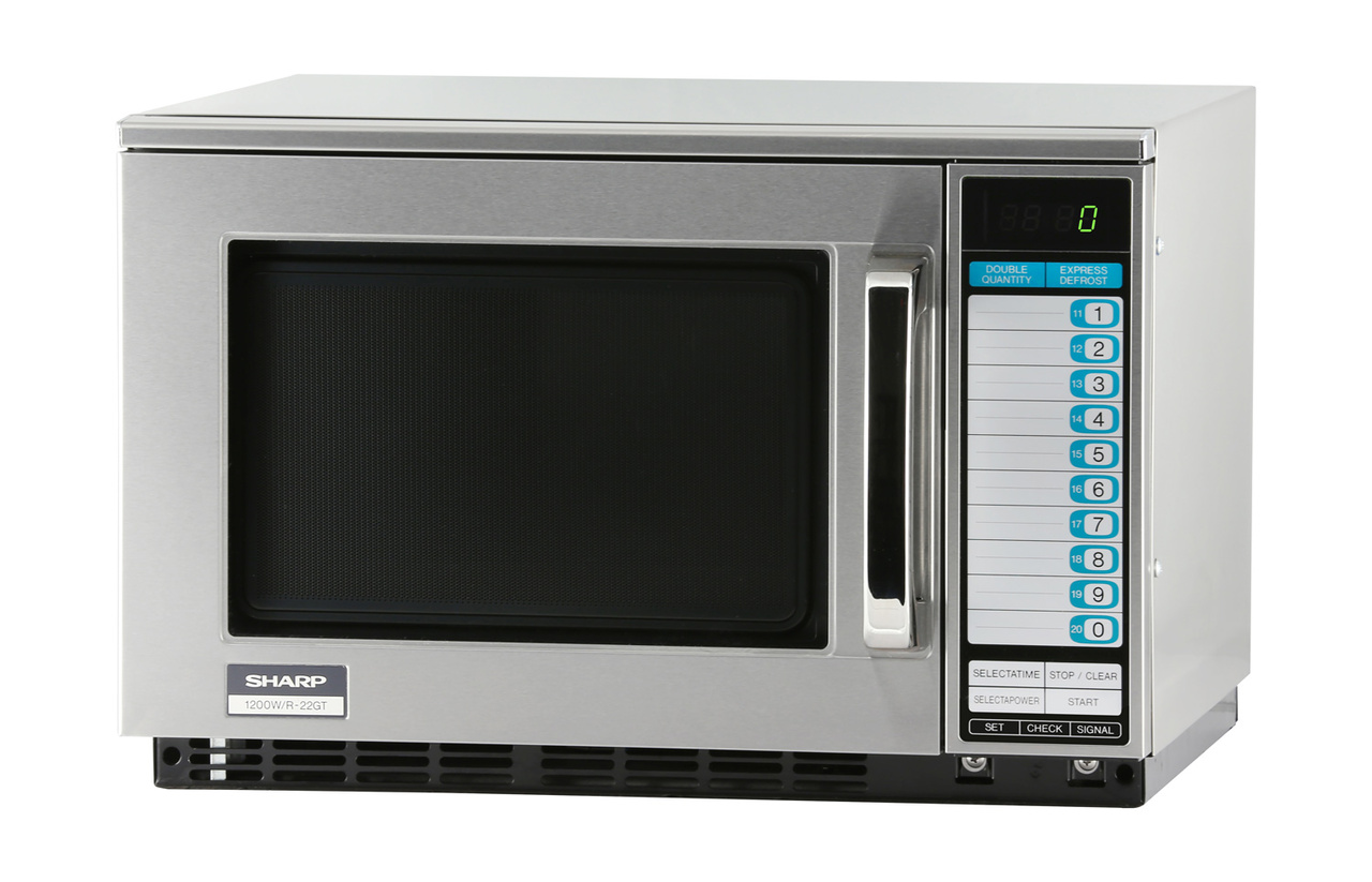 Sharp R22GTF Heavy-Duty Commercial Microwave Oven with 1200 Watts – left angle view