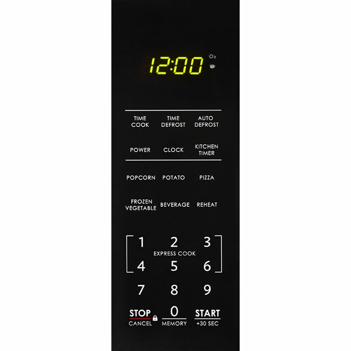 0.7 cu. ft. Sharp Black Countertop Microwave (SMC0710BB) – control panel