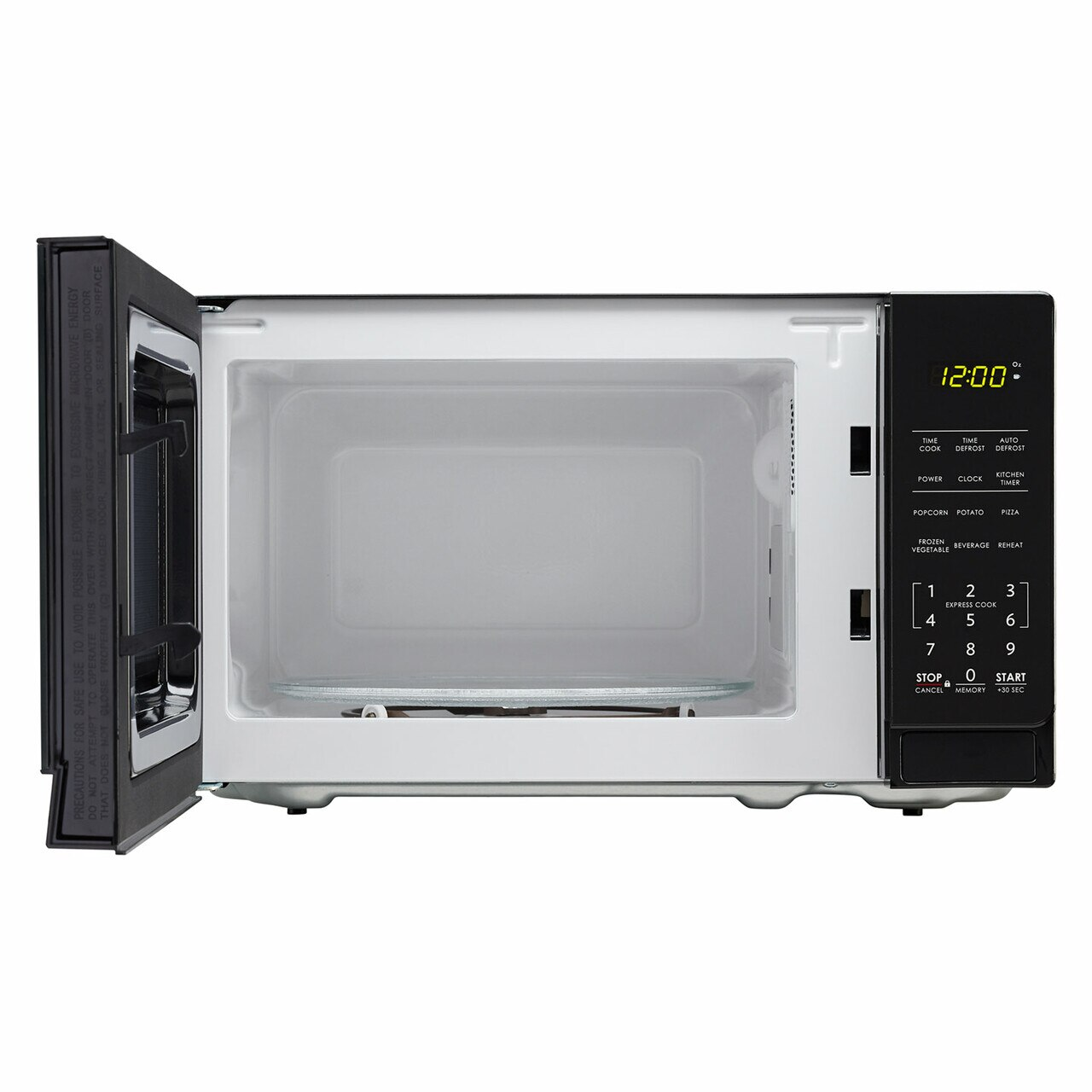0.7 cu. ft. Sharp Black Countertop Microwave (SMC0710BB) – front view with door open