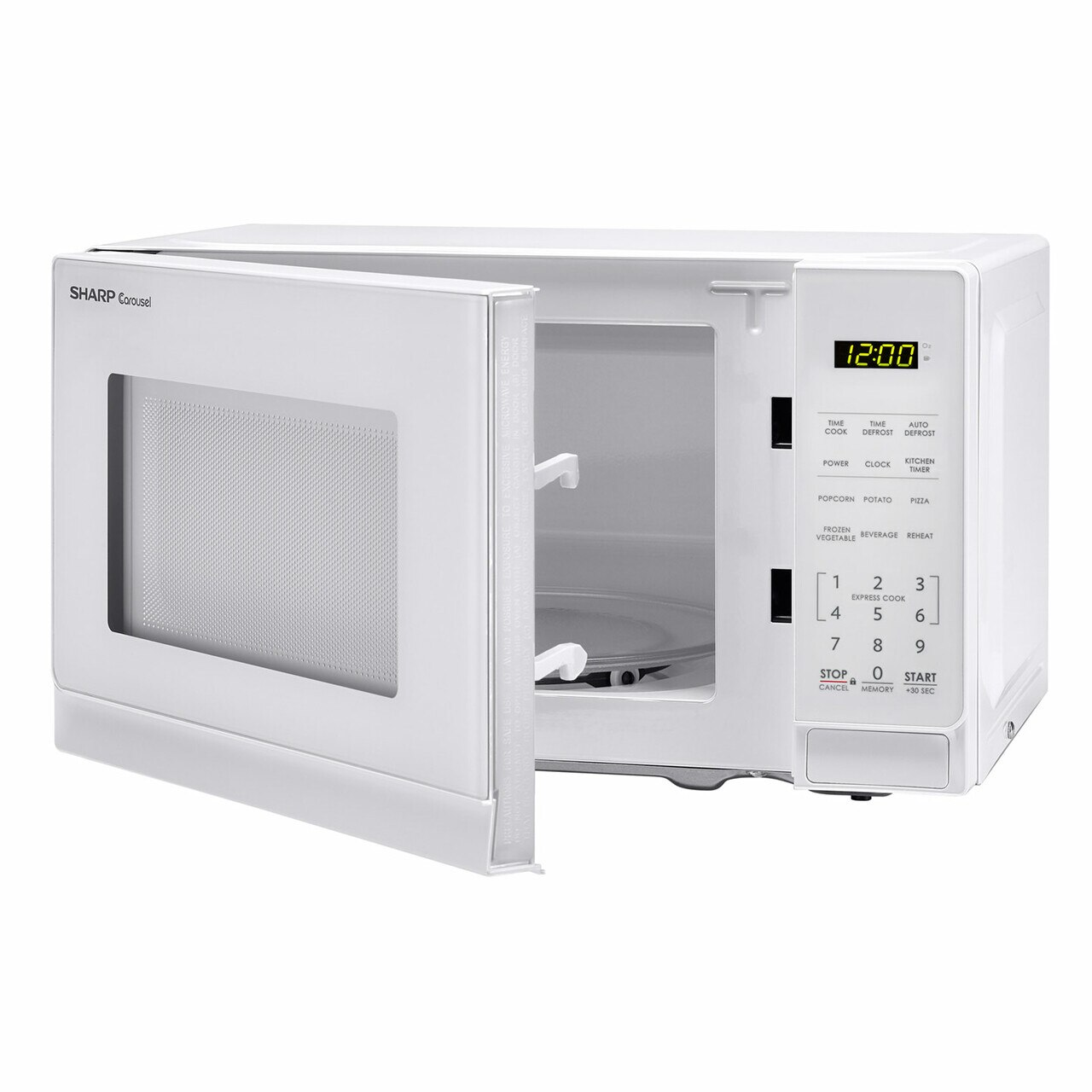 0.7 cu. ft. Sharp White Countertop Microwave (SMC0710BW) – left angle view with door open