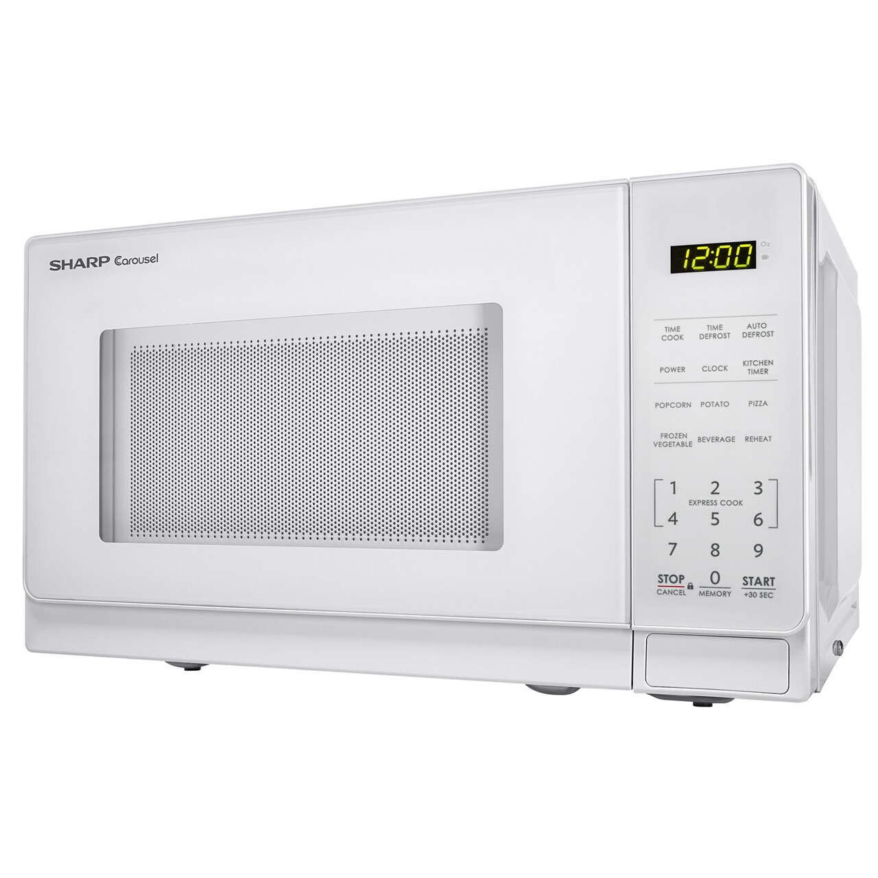 0.7 cu. ft. Sharp White Countertop Microwave (SMC0710BW) – left side view