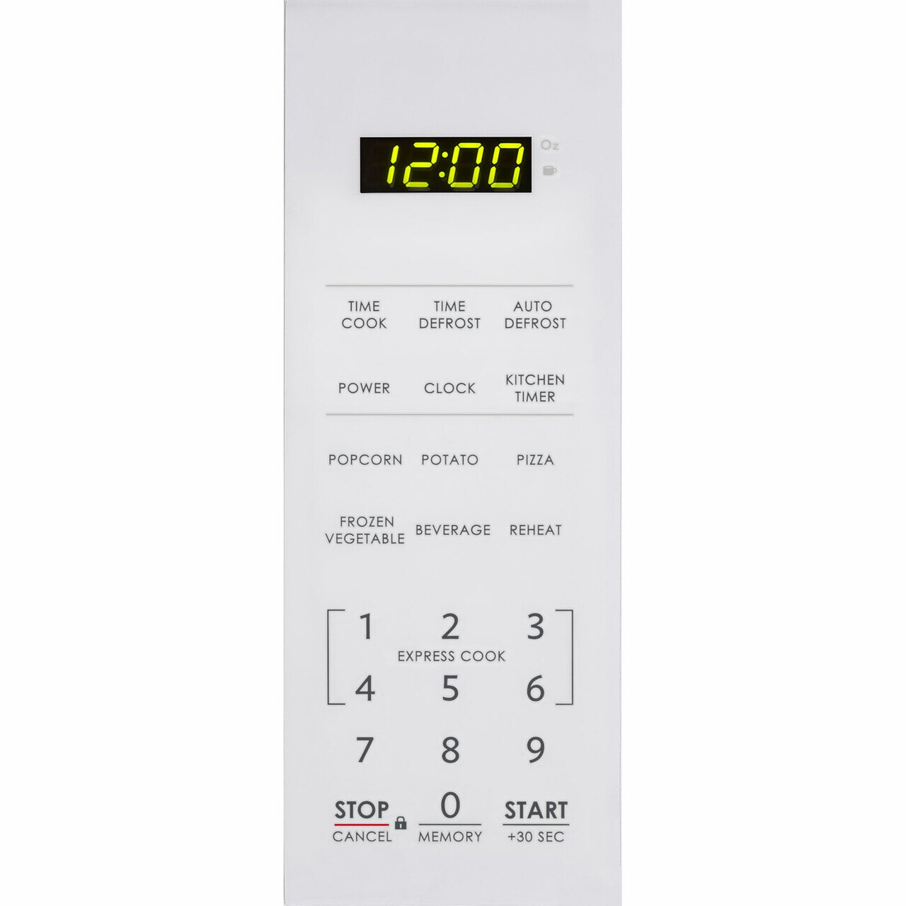 0.7 cu. ft. Sharp White Countertop Microwave (SMC0710BW) – control panel