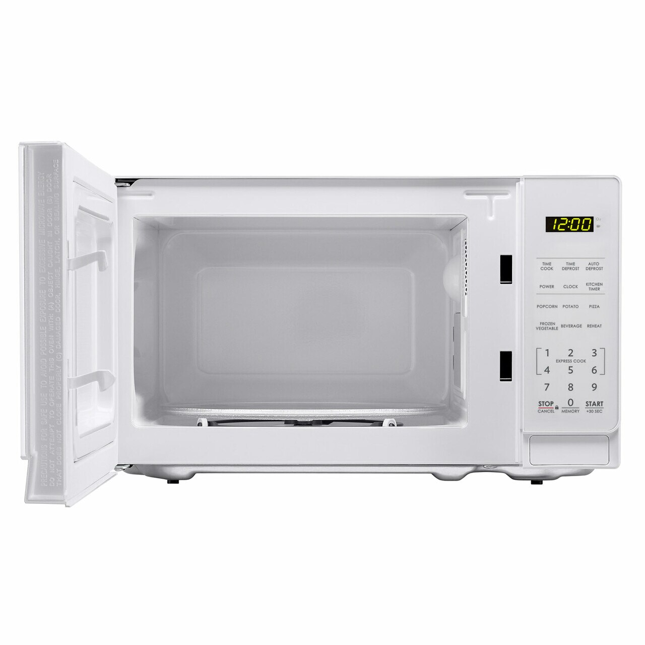 0.7 cu. ft. Sharp White Countertop Microwave (SMC0710BW) – front view with door open