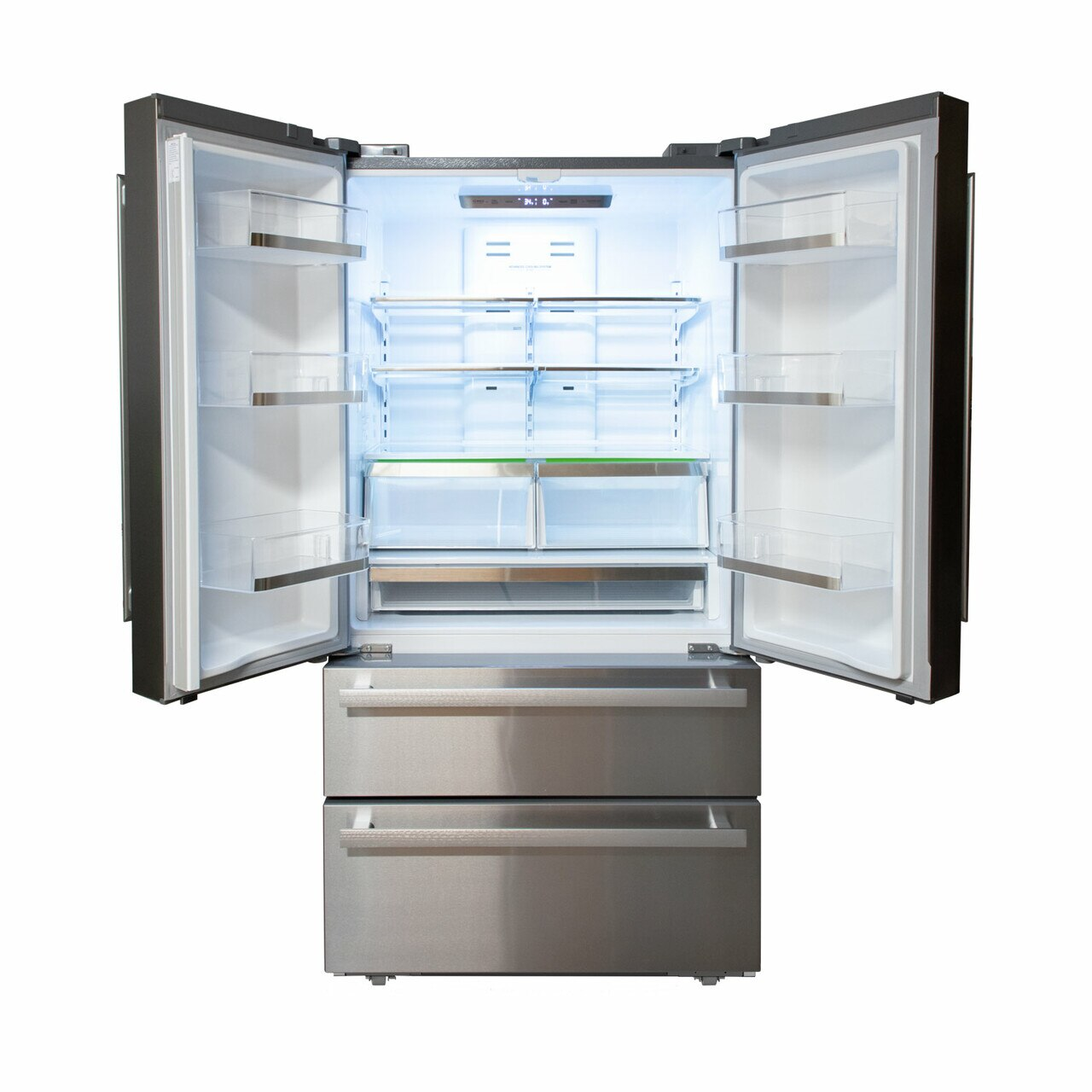 Sharp French 4-Door Refrigerator (SJG2351FS) – view with doors open