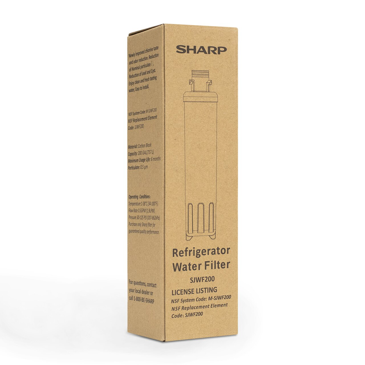 Box for Replacement Water Filter for Sharp SJG2254FS Refrigerator (SJWF200) - right angle view