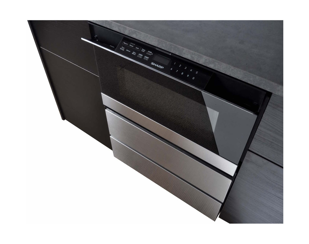 """24"""" Microwave Drawer™ Oven Pedestal (SKMD24U0ES) Installed Under the Counter – Left angle view"""
