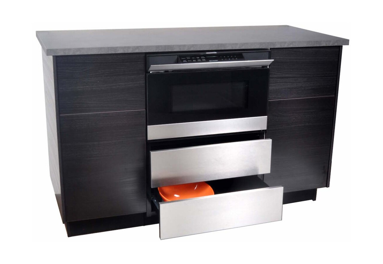 """24"""" Microwave Drawer™ Oven Pedestal (SKMD24U0ES) Installed Under the Counter – View of open draw panels"""
