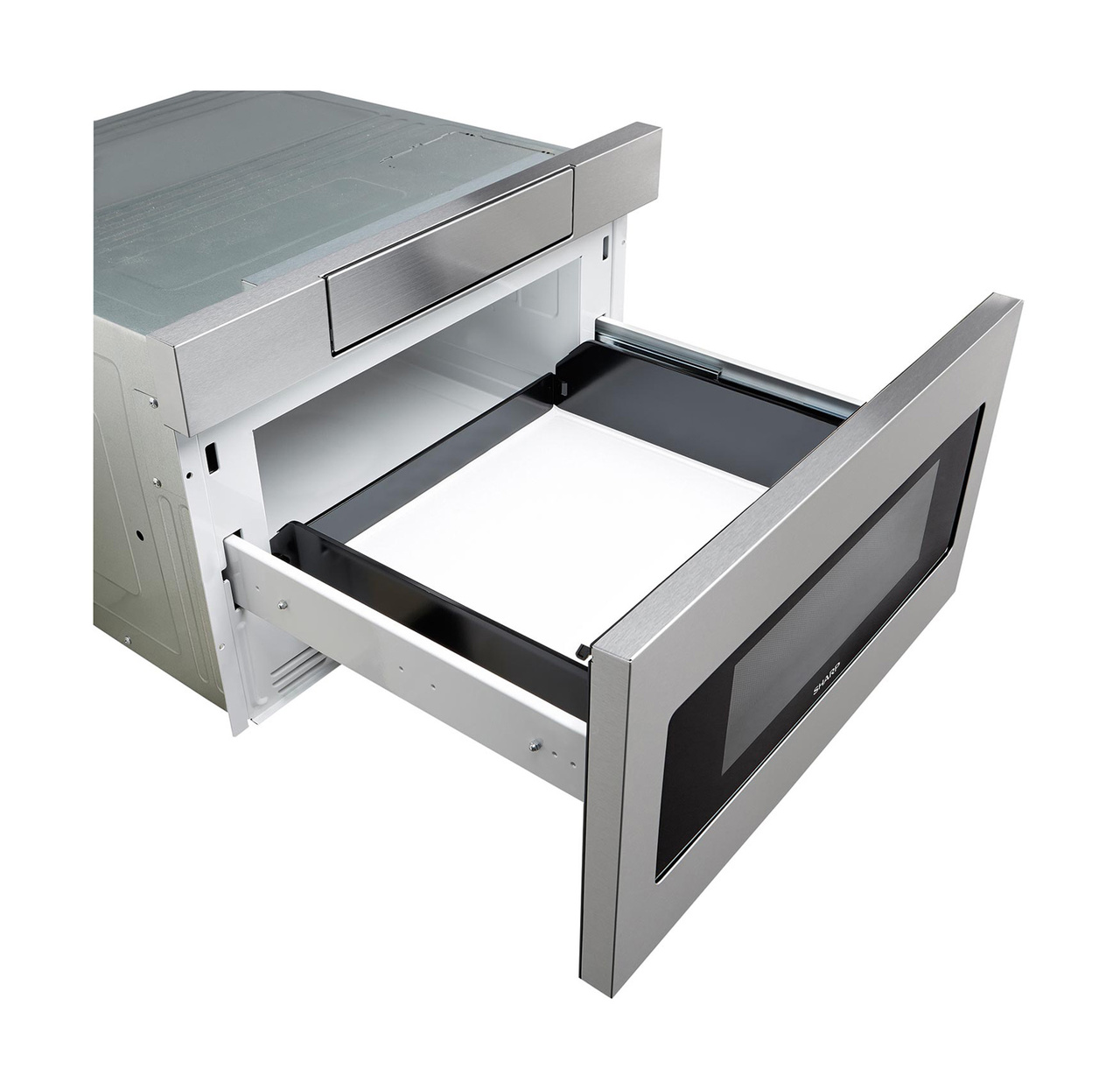 24 in. Sharp Stainless Steel Microwave Drawer (SMD2470AS) – angled right, drawer open
