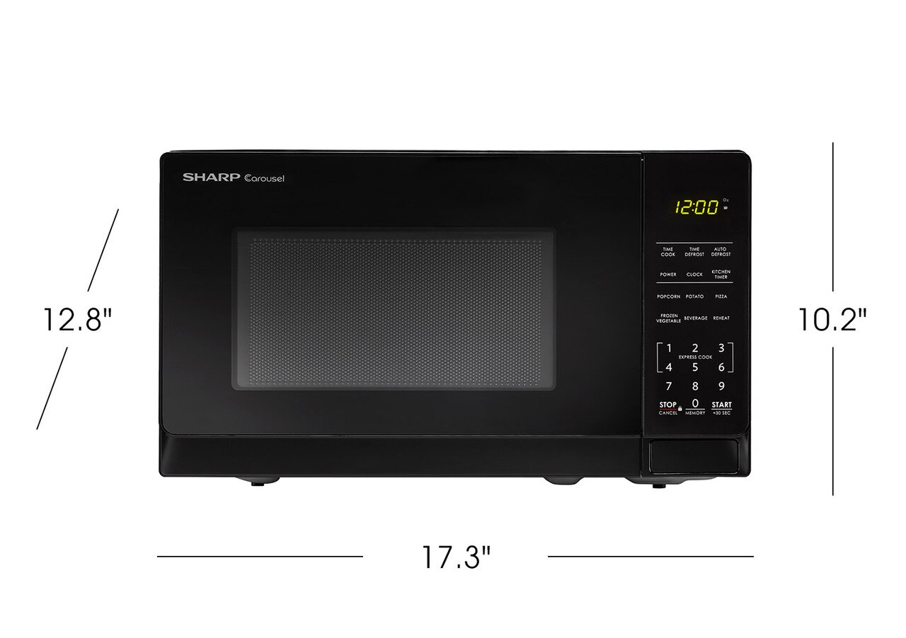 0.7 cu. ft. Sharp Black Countertop Microwave (SMC0710BB) product dimensions