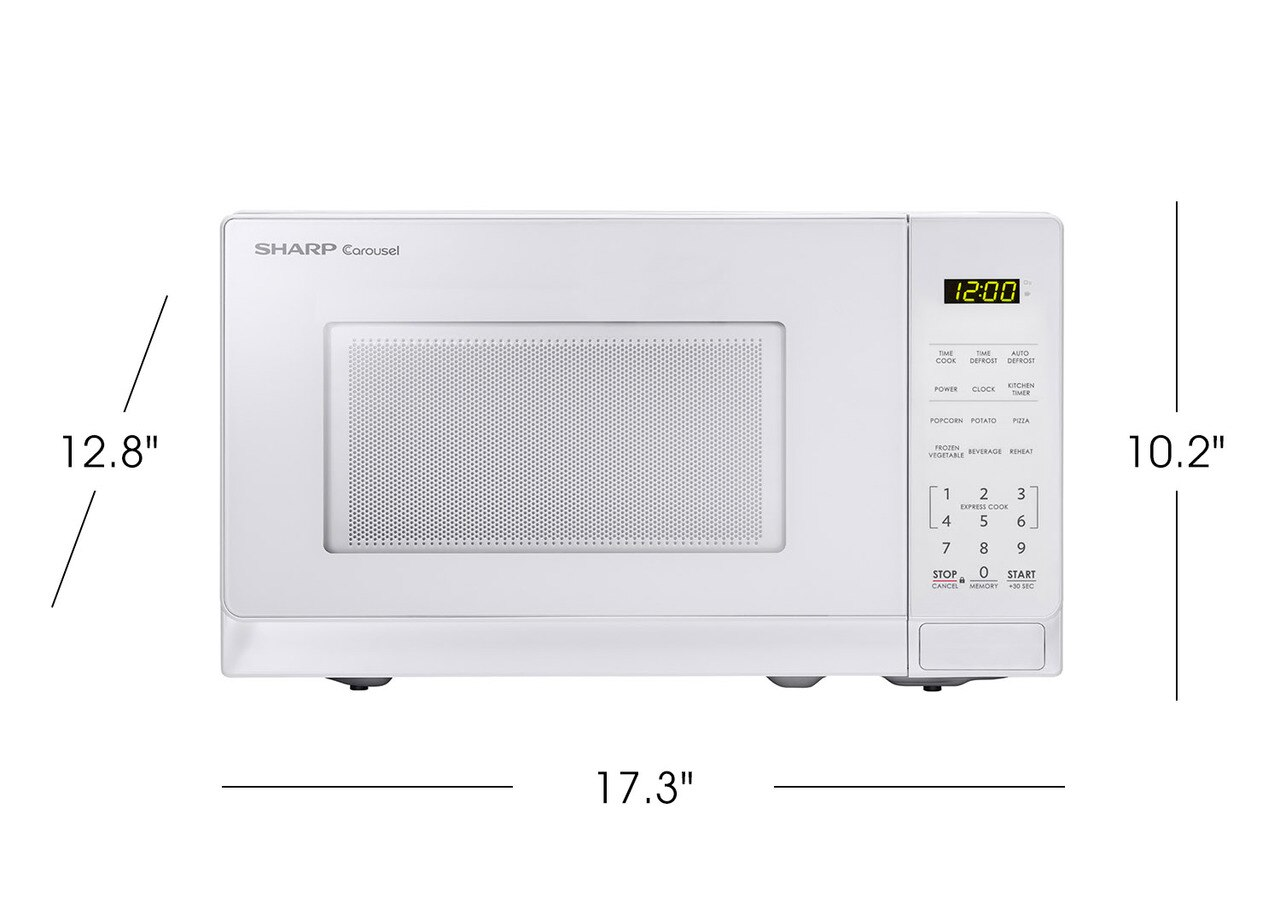 0.7 cu. ft. Sharp White Countertop Microwave (SMC0710BW) product dimensions