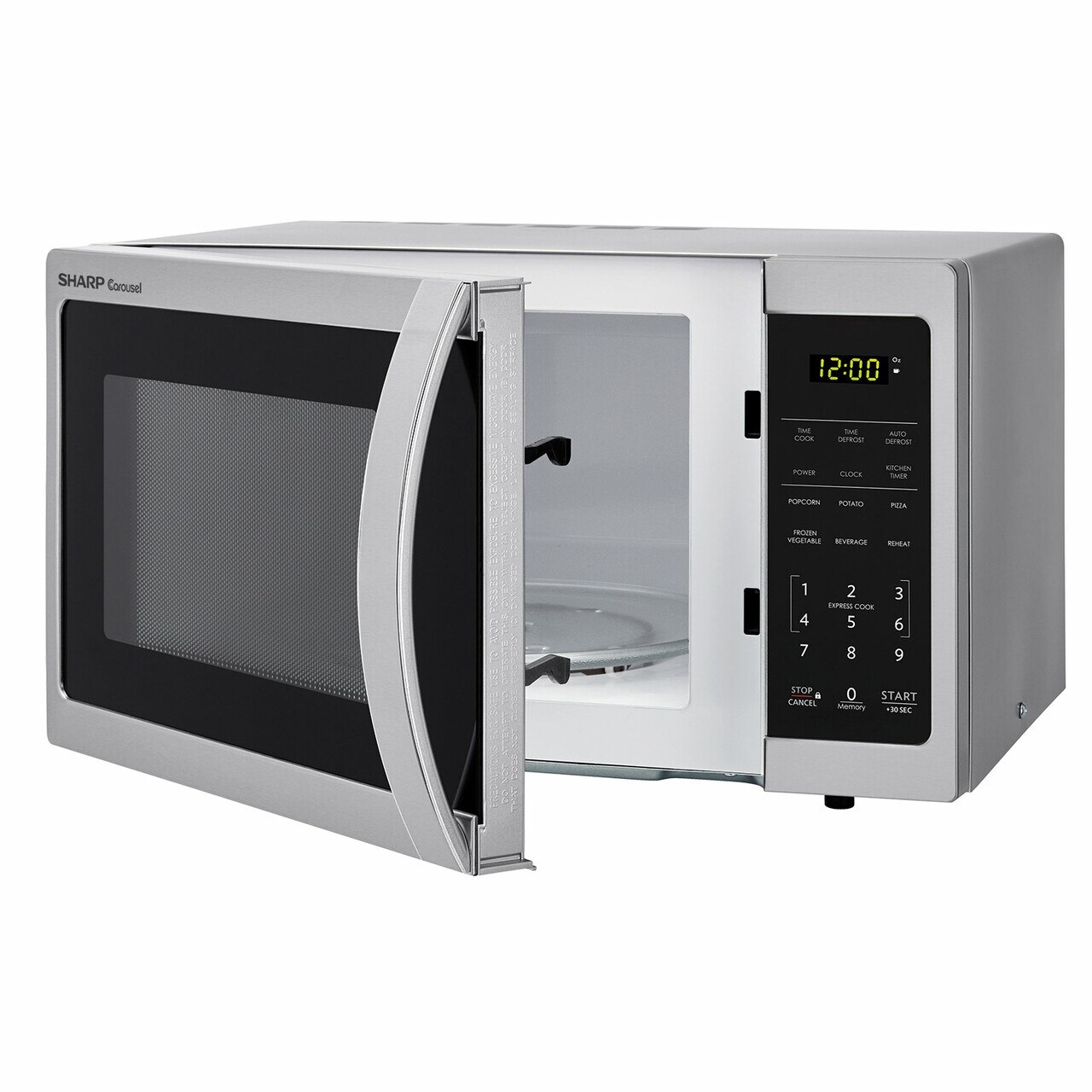 0.7 cu. ft. Sharp Stainless Steel Countertop Microwave (SMC0711BS) – left angle view with door open