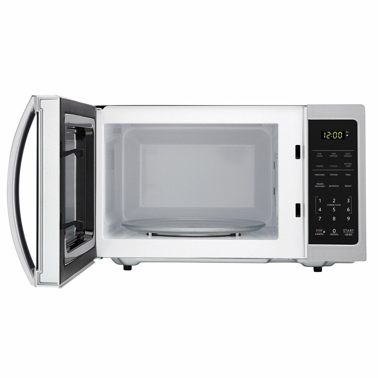 0.7 cu. ft. Sharp Stainless Steel Countertop Microwave (SMC0711BS) – front view with door open