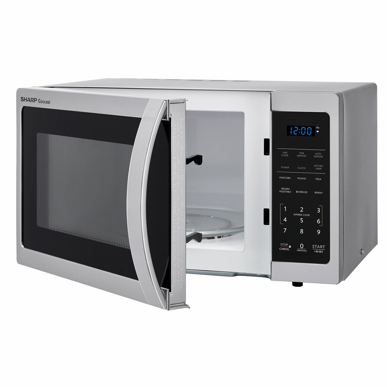 0.9 cu. ft. 900W Sharp Stainless Steel Carousel Countertop Microwave (SMC0912BS) – left angle view with door open