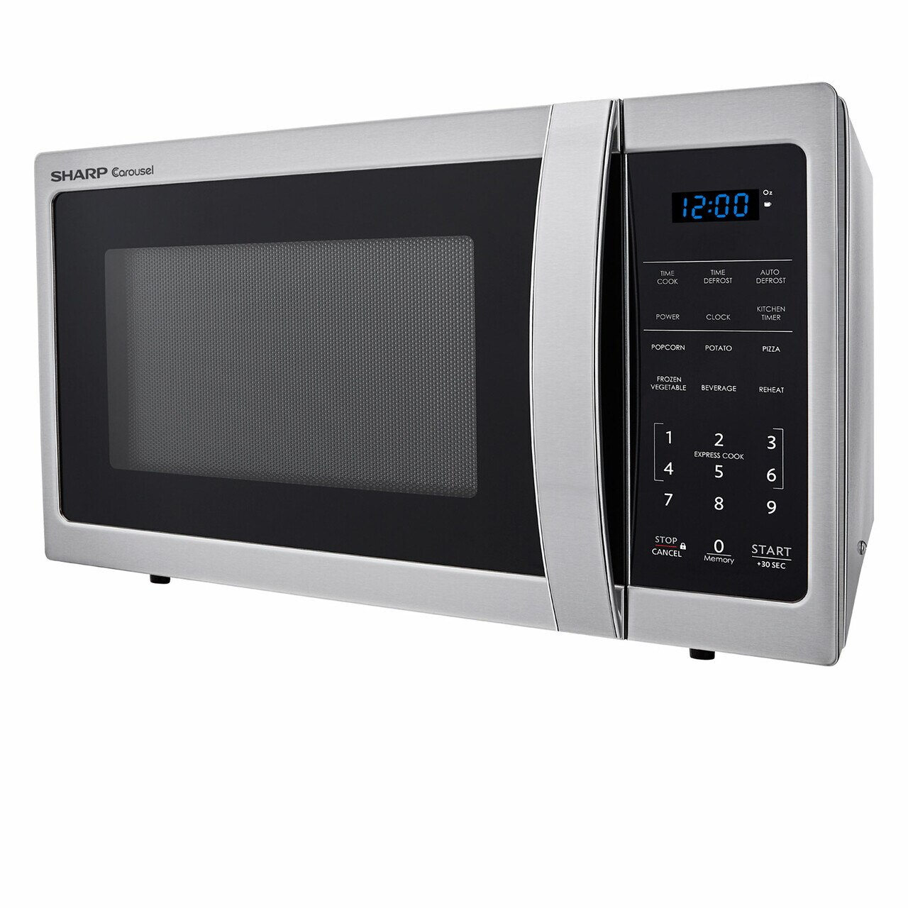 0.9 cu. ft. 900W Sharp Stainless Steel Carousel Countertop Microwave (SMC0912BS) – left side view