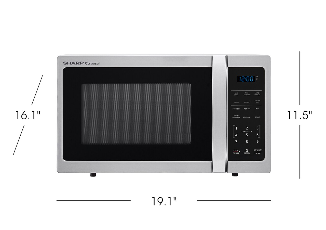 0.9 cu. ft. 900W Sharp Stainless Steel Carousel Countertop Microwave (SMC0912BS) product dimensions